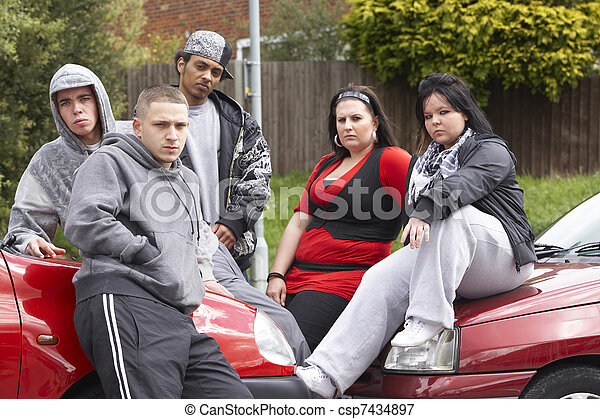 Gang Of Youths Sitting On Cars - csp7434897
