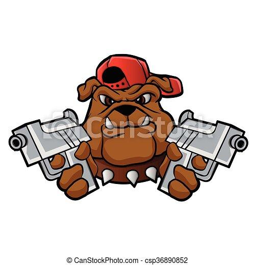gangster bulldog with pistols vector illustration rh canstockphoto com gangster chain clipart gangster girl clipart