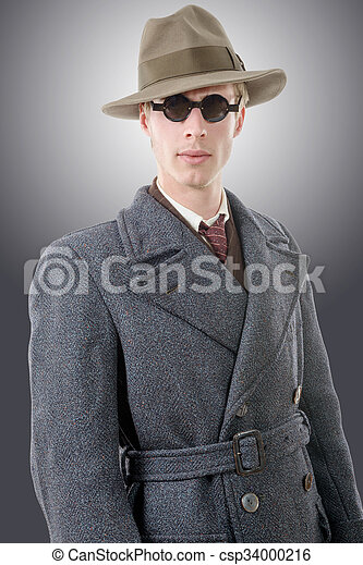 Gangster or FBI agent with a hat and black glasses - csp34000216