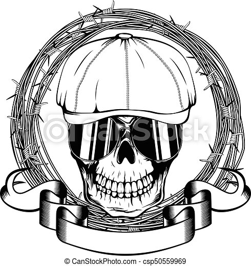 e08f2efdf241b Gangster skull. Vector illustration skull in cap with sunglasses and ...