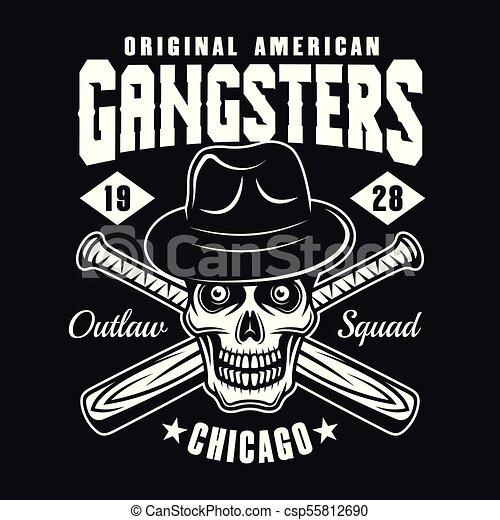 b5a7cfab1bcb9 Gangster skull in hat with baseball bats on black. Gangster skull in ...