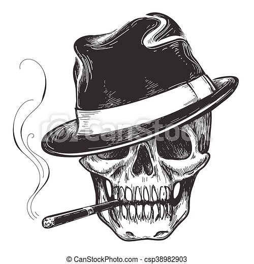 gangster skull tattoo death head with cigar and hat devil clipart black and white devil clip art free