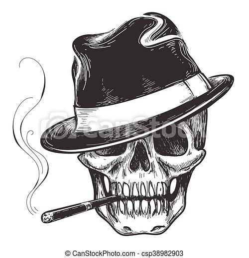 Gangster skull tattoo - csp38982903