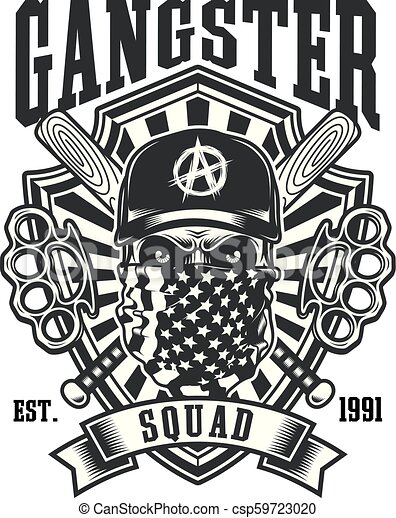 Gangster Skull With Crossed Baseball Bats and Brass Knuckles Emblem - csp59723020
