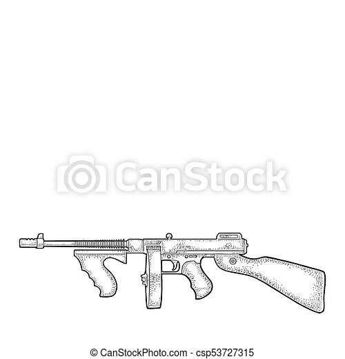 Tommy Gun Gangster Drawings Gangsters automatic we...
