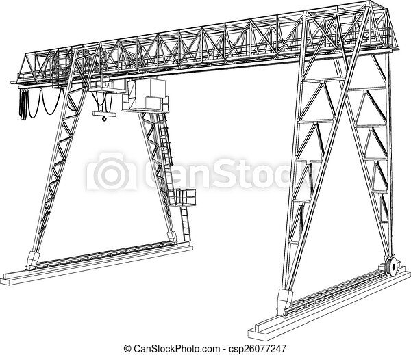 Gantry crane. wire-frame. vector rendering of 3d. Gantry crane. wire ...
