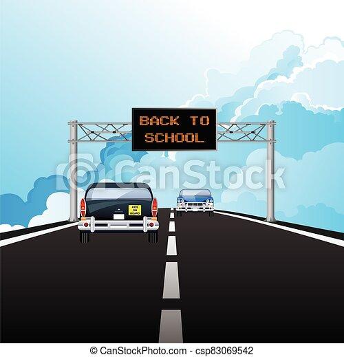 Gantry sign back to school - csp83069542