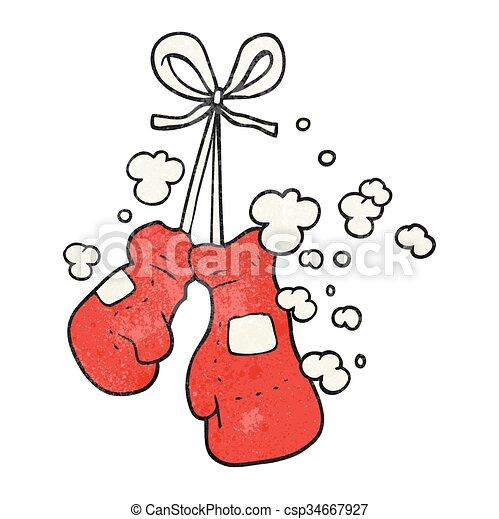 Freehand gants boxe dessin anim textured - Gant de boxe dessin ...