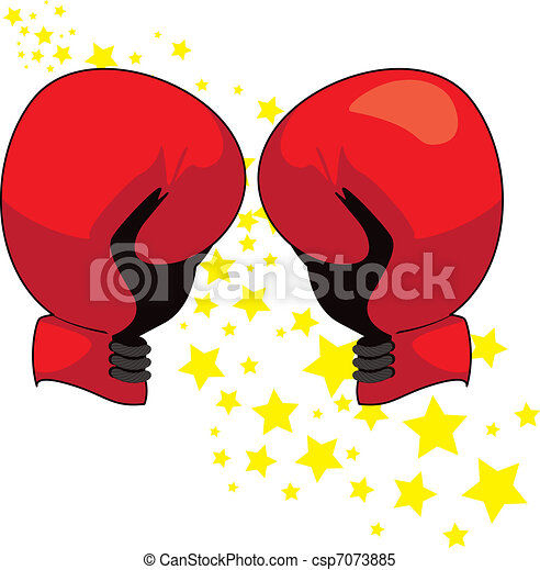 gants boxe, rouges, illustration - csp7073885
