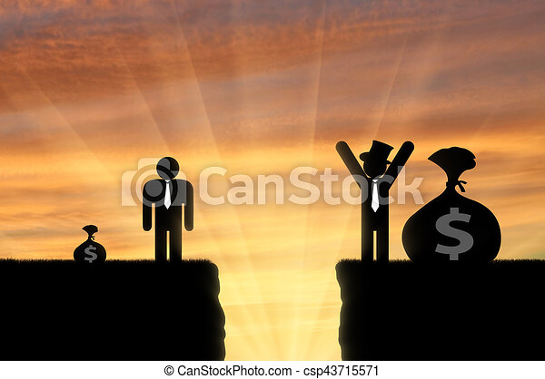 inequality concept gap between rich and poor man