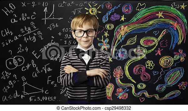 garçon, école, art, concept, créativité, idées, apprentissage, enfant, mathématiques, education, formule, gosse - csp29498332