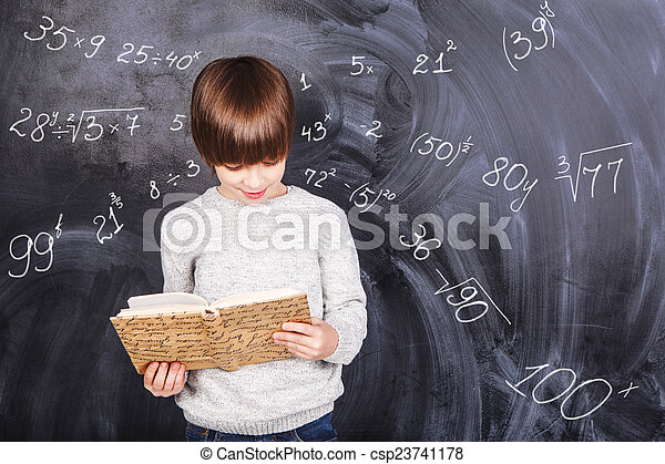 garçon, étudier, mathématiques - csp23741178