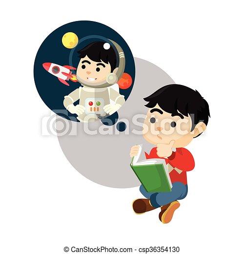 Garcon Etre Lire Livre Astronaute Wanna