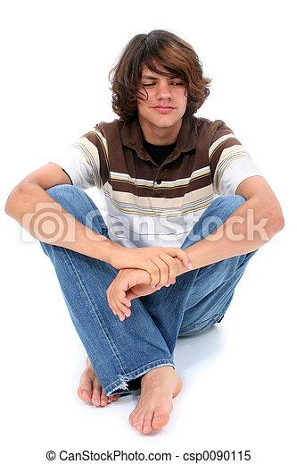 garçon adolescent, blanc, séance, plancher - csp0090115