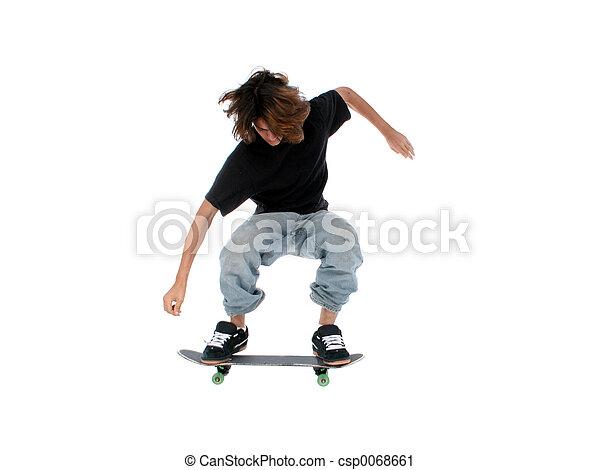 garçon adolescent, skateboard - csp0068661