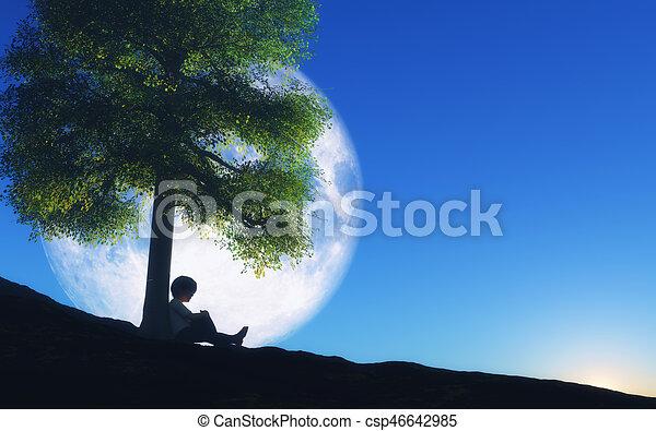 Illustration De Stock De Gar On Arbre Ciel Contre Lune Nuit Assis 3d 3d Csp46642985