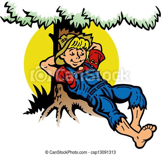 garçon, arbre, reposer, sous - csp13091313