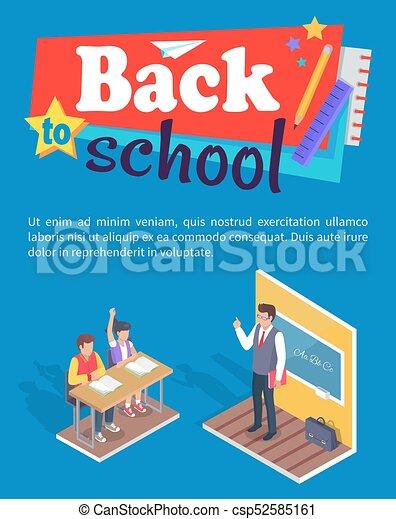 garçon, asseoir, étudiants, bureau, stand, girl, prof - csp52585161
