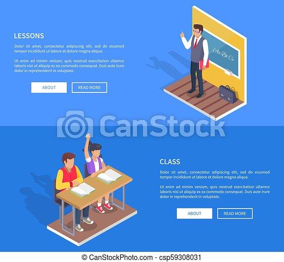 garçon, asseoir, étudiants, deux, bureau, stand, girl, prof - csp59308031