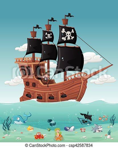Gar on bateau pirate dessin anim gar on fish water - Photo de bateau pirate ...