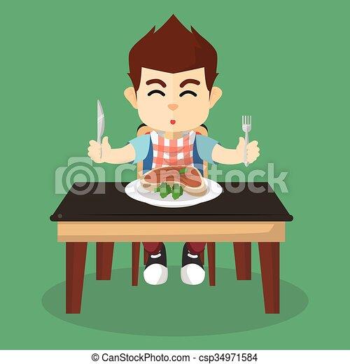 garçon, bifteck, manger - csp34971584