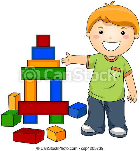garçon, blocs jouet - csp4285739