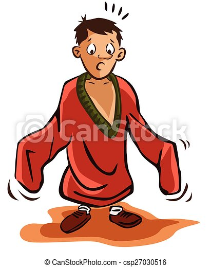 garçon, chemise, utilisation, énorme - csp27030516