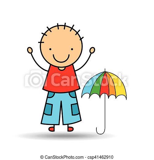 gar on couleurs parapluie dessin anim heureux gar on. Black Bedroom Furniture Sets. Home Design Ideas