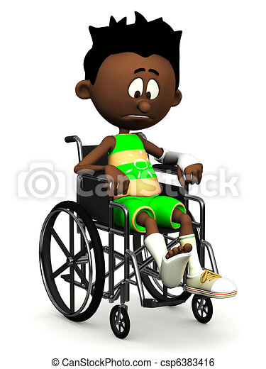 garçon, dessin animé, noir, wheelchair., triste - csp6383416