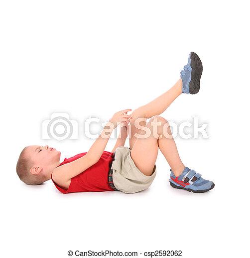 garçon, douleur, mensonge, jambe, isolé, white. - csp2592062