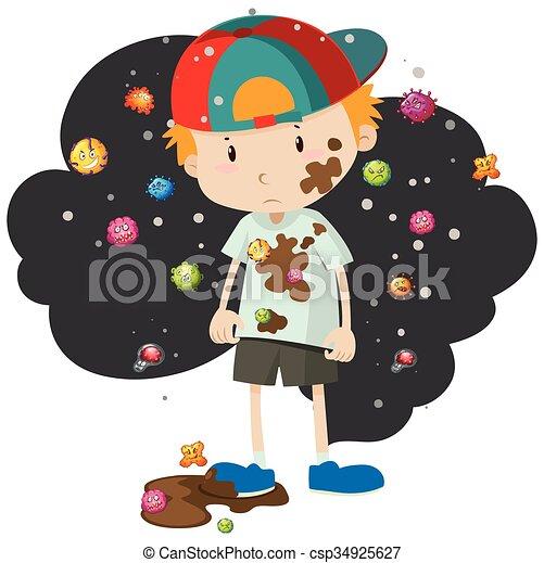 garçon, entiers, bactérie, sale - csp34925627