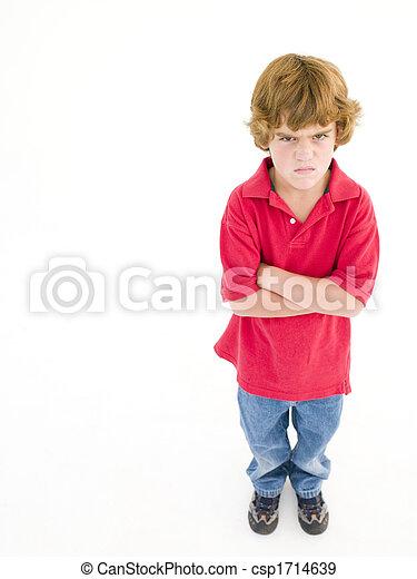 garçon, fâché, traversé, jeune, bras - csp1714639