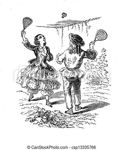garçon, featherball, girl, jouer - csp13335766