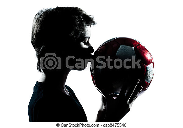 garçon, football, coupure, silhouette, girl, football, jeune, isolé, studio, adolescent, fond, baisers, portrait, blanc, une, dehors, ou, caucasien - csp8475540