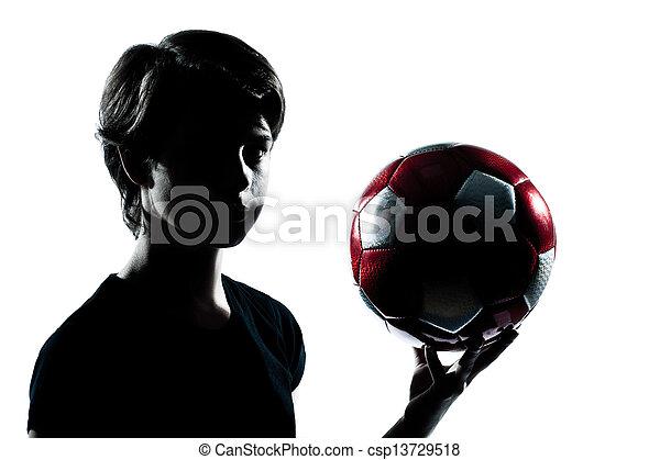 garçon, football, coupure, silhouette, tenue, projection, football, isolé, jeune, studio, adolescent, fond, portrait, blanc, une, dehors, girl, caucasien - csp13729518
