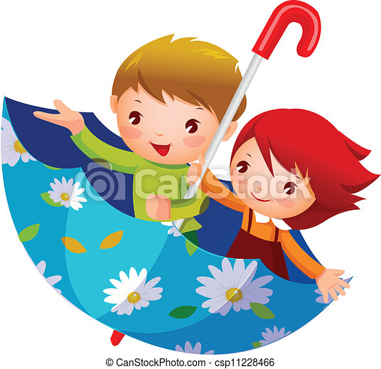 garçon, girl, parapluie - csp11228466