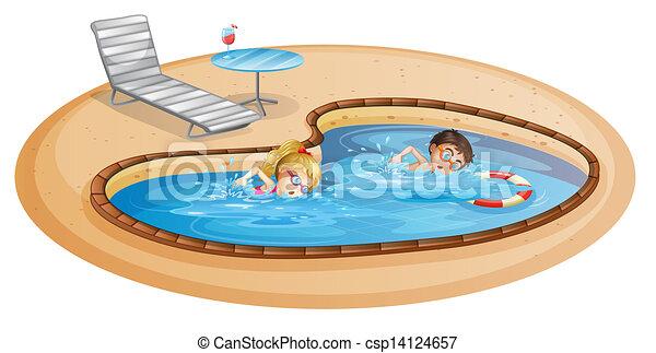 Gar on girl piscine natation gar on lllustration - Clipart piscine ...