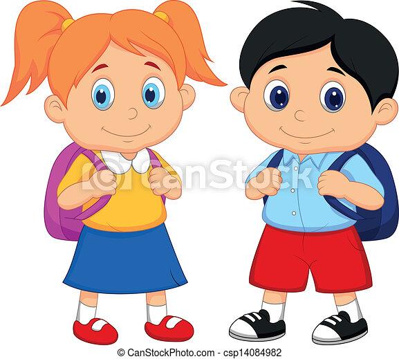 garçon, girl, sacs dos, dessin animé - csp14084982
