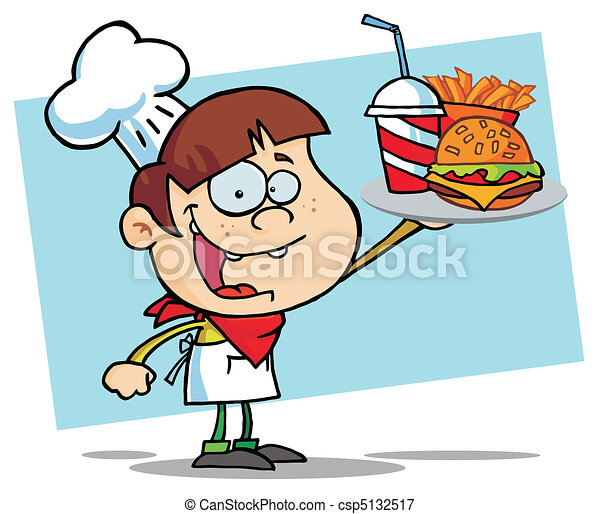 garçon, hamburger, boisson, haut, chef cuistot, tenue - csp5132517