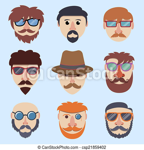 garçon, hipster, faces - csp21859402