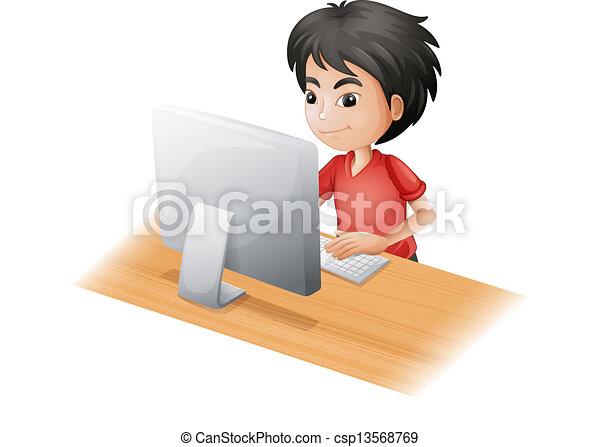 garçon, informatique, jeune, utilisation - csp13568769