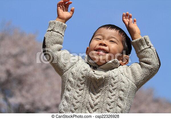 garçon, japonaise, fleurs, cerise - csp22326928