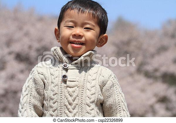 garçon, japonaise, fleurs, cerise - csp22326899