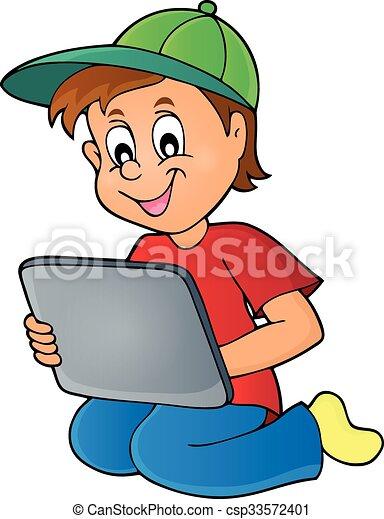 gar on jouer tablette gar on eps10 illustration tablette vecteur jouer. Black Bedroom Furniture Sets. Home Design Ideas