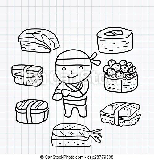 garçon, ligne, sushi, art, griffonnage - csp28779508
