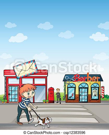 garçon, marche, sien, chien - csp12383596