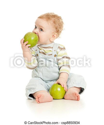 garçon, nourriture mangeant, isolé, bébé sain - csp8850934