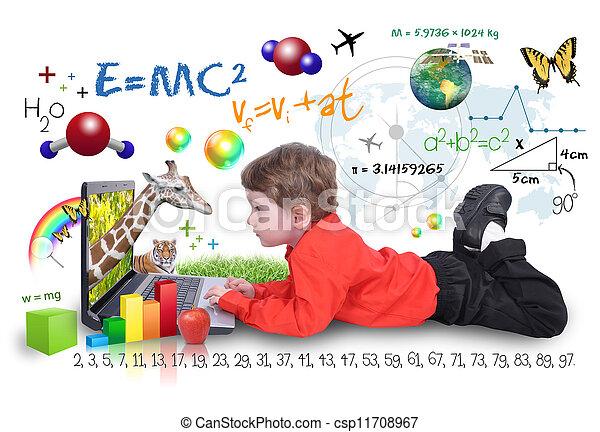garçon, ordinateur portable, outils, apprentissage, internet - csp11708967