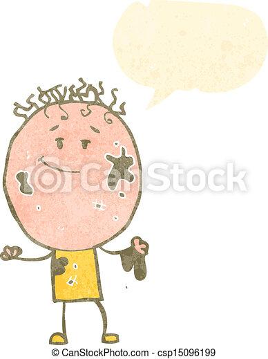 garçon, parole, retro, bulle, dessin animé, sale - csp15096199