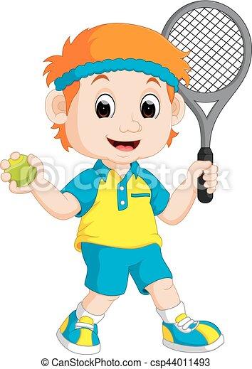 garçon, pelouse, tennis, jouer - csp44011493